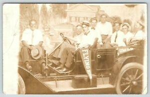 """Flying High"" in Cedar Rapids Iowa~Men in Car~Circus & Sideshow Studio~1913 RPPC"