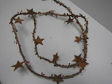 "DLCC~60"" Grapevine Pip Berry Garland with Rusty Tin Stars Primitive home decor"