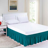 Elastic Bed Skirt Luxury Dust Ruffle Easy Fit Wrap Around Twin Full Size Blue