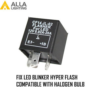 AllaLighting Turn Signal Hazard LED Flasher Relay CF14 3Pin,Fix Fast Hyper-flash
