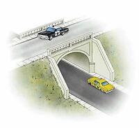 WALTHERS CORNERSTONE HO SCALE ARCHED ROAD BRIDGE KIT KIT 933-3196