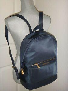 MICHAEL KORS Morgan MK Backpack Navy Blue Nylon Saffiano Leather 38S9COGB2C Gold