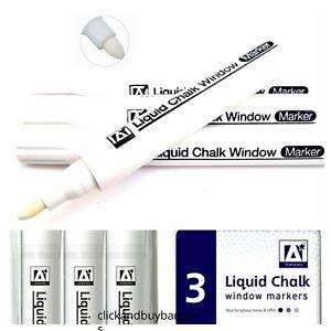 UK White Liquid Chalk Pens Marker For Glass Windows Plastic Pens UK SELLER 1-9pc