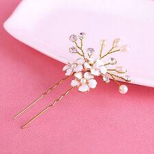 Vintage Bridal Crystal Glaze Flower Faux Pearl Hair Pins Bridesmaid Clips Comb