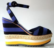 new $850 PRADA cobalt blue black ankle strap STRIPED WEDGES shoes 40.5 US 10.5