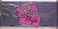 Aluminum Military License Plate Army Wife NEW