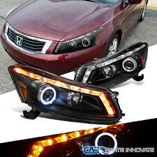 For Honda 08-12 Accord 4Dr Sedan LED Signal Halo Projector Headlights Lamp Black