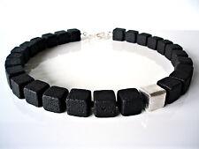 A Sign *Abendstern* Lava-Würfel schwarz Halskette/Kette silbernes Highlight 14mm