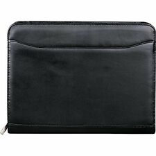 NEW Leed's Leather Zip Around Padfolio Organizer with Letter Pad Black