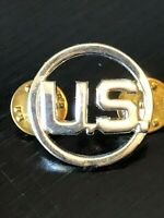Vintage Collectible US Military Round Double Metal Pinback Hat Pin Lapel Pin