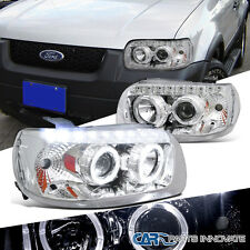 05-07 Ford Escape Replacement Chrome Dual Halo SMD LED DRL Projector Headlights