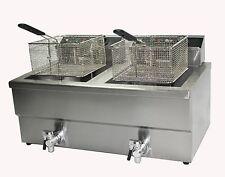 kommerzieller Elektrik Chip Fisch Friteuse 10 Liter DOPPEL ZWEIFACH Korb mit