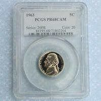 1963 PCGS Proof 68 Cameo Jefferson Nickel, Gem PR68 Cam Coin