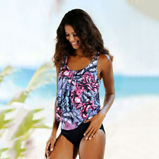 Womens Swimwear Tankini Swimsuit Bikini Set Push-up Sport Beachwear Bathing Suit