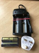 2 X 18650 4000 Mah Ultrafire Batteries And Charger With Fused UK Plug