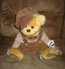 Heunec Plush Tan Teddy Bear from Germany in Hat, Sweater and Overalls with Tags