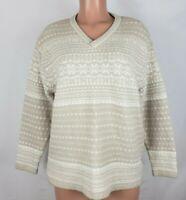 St. John's Bay Women's Size 1X Beige White Sweater Pullover Sequins LS V Neck