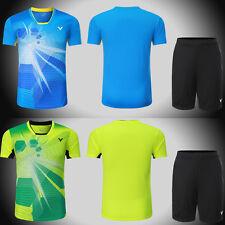 New Victor men's Tops table tennis clothing Badminton Set T-shirt+shorts
