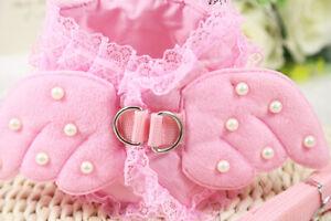 XS S M L Girl Dog Harness Vest Leash Small Medium Adorable Dress pink Pet Female