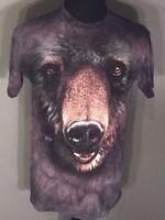 The Mountain Black Bear Mens Size Medium M Black Tie-Dye Short Sleeve T-shirt