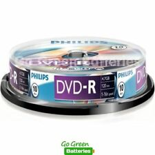 10 x Philips DVD-R Blank Recordable Discs 4.7GB 120 Mins 1-16x Speed Spindle