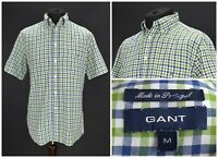 Mens GANT Pinpoint Oxford Shirt Short Sleeve Gingham Check Green Cotton Size M