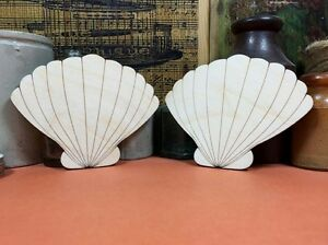 WOODEN CLAM SHELL ETCHED Shapes 10cm (x2) wood cutout crafts blank shape