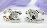 LOVELY FASHION CZ STUD SMALL EARRINGS 18K White Gold GP Thai made Jewelry GT3