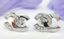 LOVELY THAI FASHION CZ STUD SMALL EARRINGS 22K 18K White Gold GP Jewelry