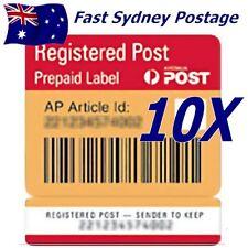 NEW 10X Australia Post Registered Post Prepaid Label Labels - Tracking Signature