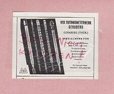 GERABERG, Werbung 1958, VEB Thermometer-Werk Geraberg Labor-Thermometer