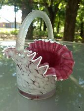 Vintage Murano Italian Art Glass Cranberry Cased White Spatter Bride's Basket