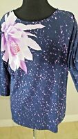 Bob Mackie Women's Top Wearable Art Floral Print Long Sleeve Scoop Neck Sz Small