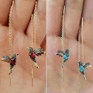 Hummingbird Earrings Stud Threader Long Drop Tassel Crystal Dangle Wholesale Hot