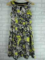 JACQUI E fit & flare Dress Sz 8 Black Grey Green floral print
