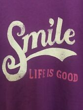 "LIFE IS GOOD WOMENS ""SMILE""  T- SHIRT Sz XXL 100% Cotton Purple Short Sleeve"