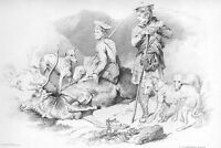 Scottish Hunters TERRIER DOGS & DEAD STAG DEER ~ 1876 Original Art Print Etching