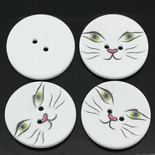 5 Wooden LARGE Cats Face Design Sewing Buttons 40mm Crafts