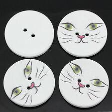 5 en bois grands chats face design sewing boutons 40mm artisanat