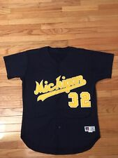 Michigan Wolverines NCAA Vintage Russell Athletic Game Used Baseball Jersey