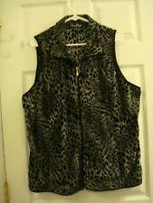 Woman's Lena Black & Gray Leapord Print Zip Front Vest Size 18/20