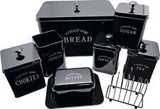Black Kitchen Storage Set Bread Bin Cookies Butter Tea Sugar Coffee Canisters