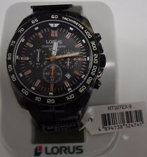 BRAND NEW Lorus Gents Black Chronograph Watch with Silicone Strap RT327EX-9