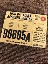 1978 PA Pennsylvania Resident Hunting License Paper Cardboard