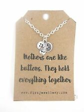 Silver Mothers Are Like Buttons Necklace on a Card with Quote Mothers Day Gift