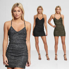 Polyester Mini Dresses for Women with Glitter