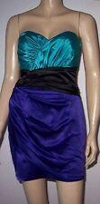 LIPSY Purple Green Black Satin Look Strapless Wrap Bottom  Party Dress Size 10