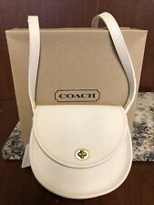 MINT Coach Vintage Court White Leather Crossbody Shoulder Bag Satchel With Box