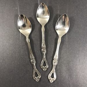 3 Teaspoons Cosmos Stainless Japan Palm Beach Pierced Floral 6 3/8""