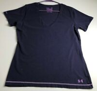 Under Armour Womens Short Sleeve T Shirt Large Purple V Neck Charged Semi Fitted